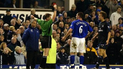 Eddie Wolstenholme shows a red card to David Unsworth