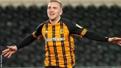 Jarrod Bowen celebrates his early goal for Hull against Rotherham