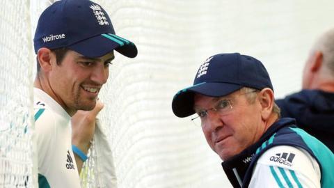 England captain Alastair Cook and coach Trevor Bayliss