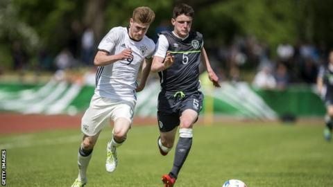 Declan Rice (right) in action for the Republic of Ireland's Under-18 team against Germany last May