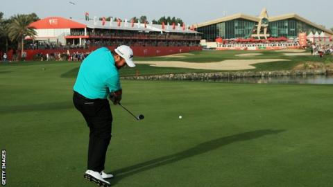 Shane Lowry in third-round action in Abu Dhabi