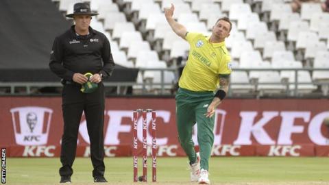 South Africa fast bowler Dale Steyn bowls in a Twenty20 international