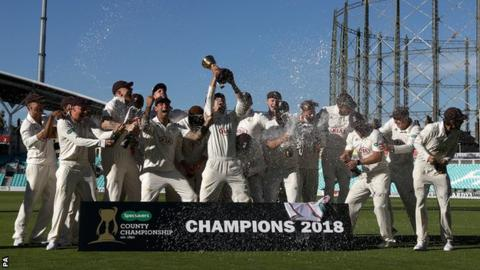 Surrey with the County Championship trophy