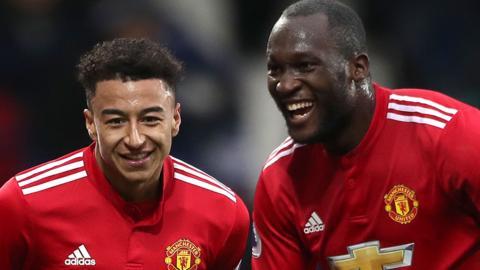 Manchester United's Jesse Lingard and Romelu Lukaku