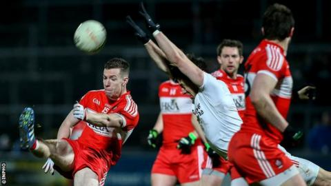 Niall Loughlin of Derry and Matthew Donnelly of Tyrone during last year's Dr McKenna Cup final