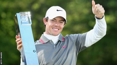 Rory McIlroy celebrates his 2014 PGA Championship victory after winning by one shot