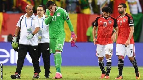 Egypt goalkeeper Ahmed El Shenawy was injured in the game against Mali in Port-Gentil