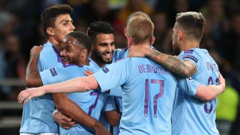 Man City players celebrate Riyad Mahrez's opening goal