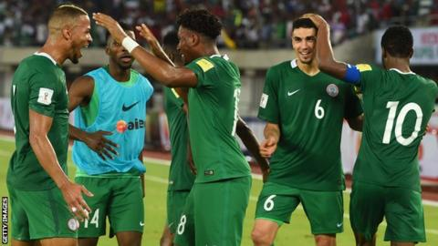 Nigeria celebrate qualifying for the 2018 World Cup