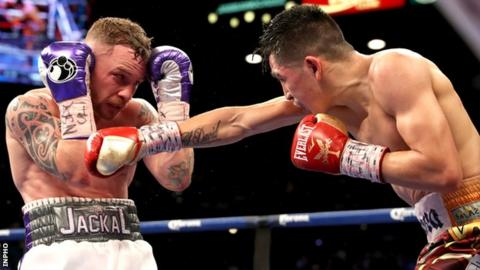 Carl Frampton during his WBA featherweight title defeat by Leo Santa Cruz last January