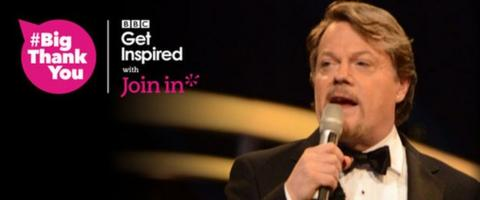 graphic with image of Eddie Izzard and #BigThankYou logo