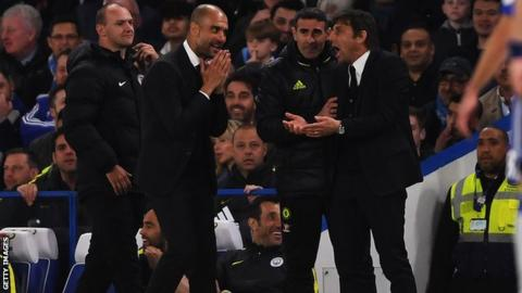 Pep Guardiola and Antonio Conte on the touchline during Chelsea's 2-1 win