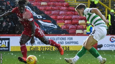 James Forrest fires in Celtic's third goal during Sunday's 4-0 win at Pittodrie