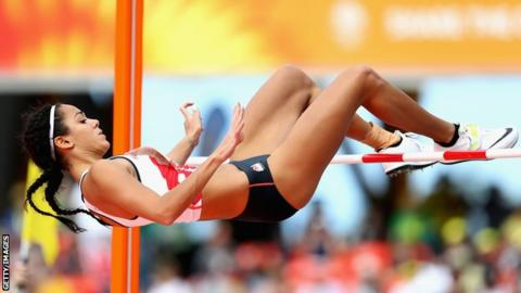 Katarina Johnson-Thompson clears high jump