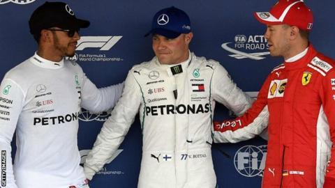 Lewis Hamilton, Valtteri Bottas and Sebastian Vettel