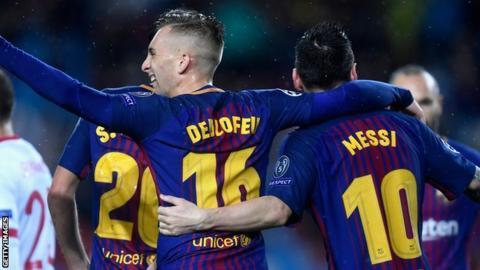 Gerard Deulofeu and Lionel Messi