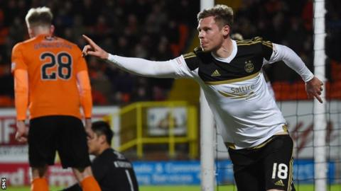 Aberdeen's Simon Church celebrates against Dundee United