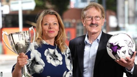 BBC Sport NI Executive Producer Jane Tohill with Super Cup NI tournament chairman Victor Leonard