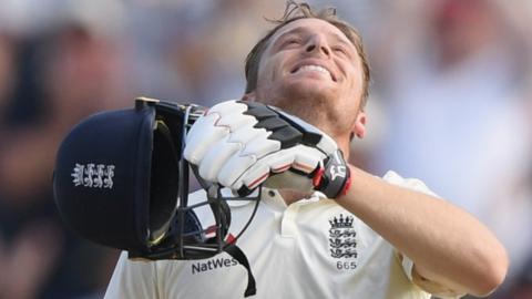Jos Buttler celebrates his maiden Test century