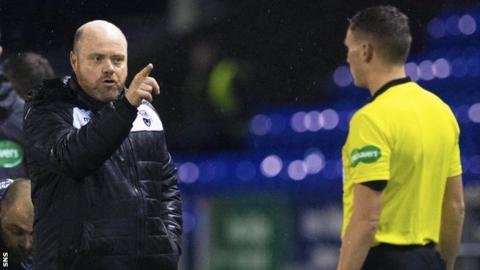 Ross County co-manager Steven Ferguson complains to assistant referee Daniel McFarlane during the cup tie with Caley Thistle