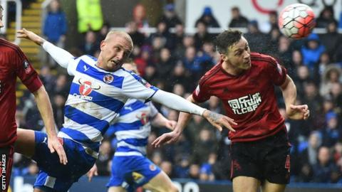 Deniss Rakels in action for Reading against West Brom