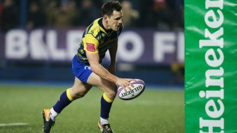 Cardiff Blues scrum-half Tomos Williams scores after Gareth Anscombe's fine chip and gather