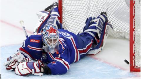 SKA St Petersburg's goaltender Magnus Hellberg