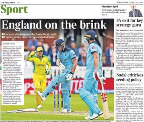 The back page of Wednesday's Times