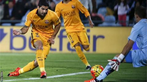 Luis Suarez scores against Getafe