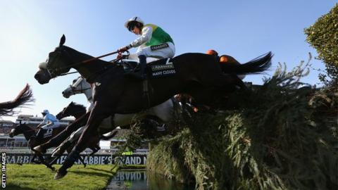 Many Clouds clears the water jump on the way to winning The Grand National in 2015