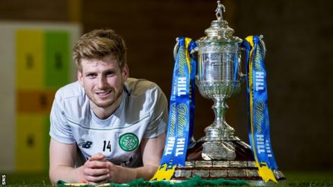 Celtic midfielder Stuart Armstrong with the Scottish Cup