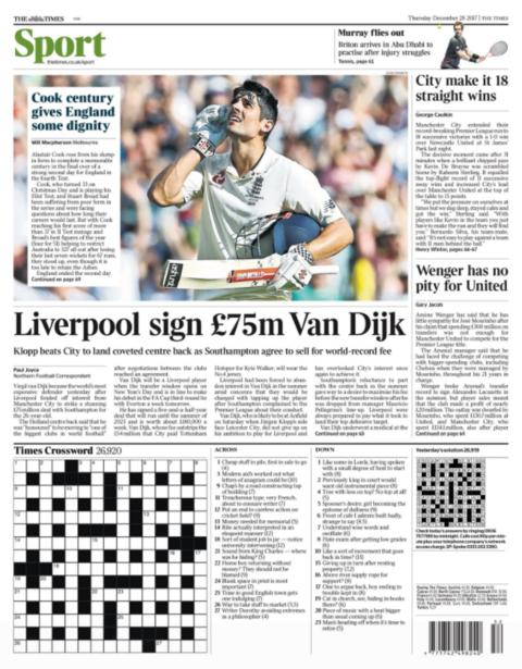 The Times back page on Thursday