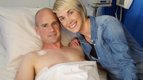 Ryan Farquhar with wife Karen as he continues his recovery in the Royal Victoria Hospital