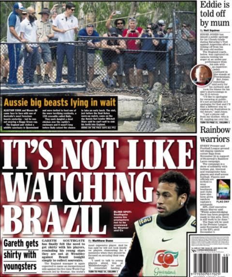 Tuesday's Daily Express looks ahead to England's friendly with Brazil