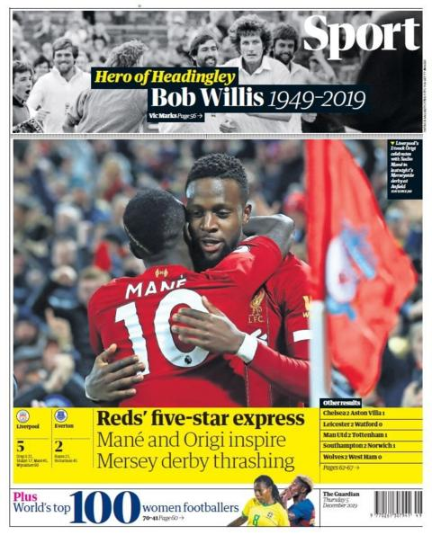 Thursday's Guardian back page