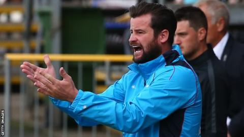 Matthew Bates tries to motivate the Hartlepool players