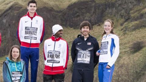 Steph Twell, Callum Hawkins, Mo Farah, Garrett Heath and Fionnuala McCormack pose before the 2016 Edinburgh race