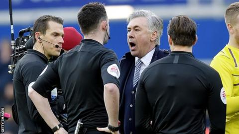 Carlo Ancelotti shouting at referee Chris Kavanagh after Sunday's 1-1 draw with Manchester United