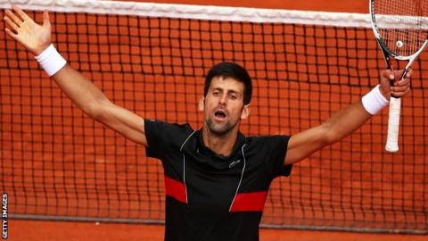Novak Djokovic into last 16 at Slam for 43rd time