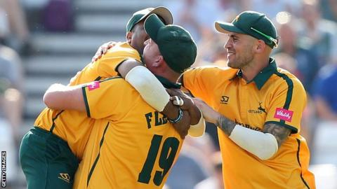 Notts Outlaws celebrate a wicket against Yorkshire Vikings