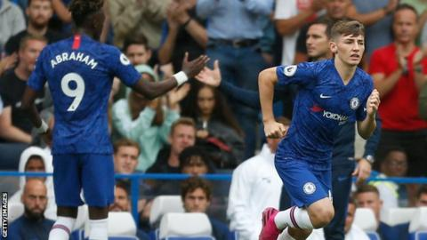 Chelsea's Tammy Abraham is replaced with Billy Gilmour against Sheffield United