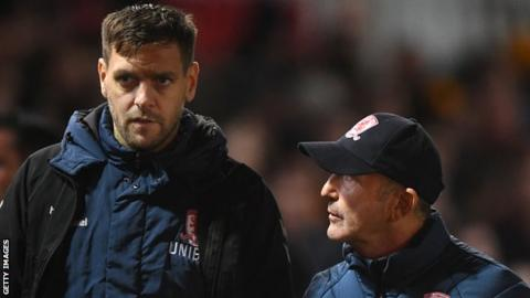 Jonathan Woodgate (left) worked as a coach alongside former Middlesbrough boss Tony Pulis (right)