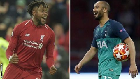 Liverpool striker Divock Origi (left) and Tottenham forward Lucas Moura