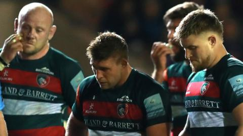 Leicester players look dejected during their defeat by Northampton