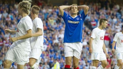 Rangers were beaten by Malmo in Champions League qualifying in season 2011-12