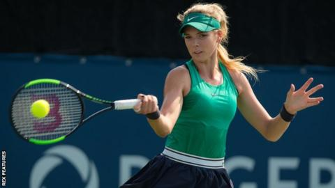 Katie Boulter plays a forehand shot during her first round defeat at the Rogers Cup