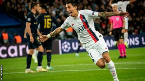 Former Real Madrid player Angel di Maria scored twice against his old club to help Paris St-Germain to a comfortable Champions League win