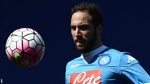 Gonzalo Higuain playing for Napoli