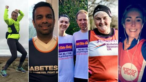 London Marathon runners (from left to right) Joanne Graham, Sandeep Chauhan, Mel Elliott and James Parker, Sue Strachan and Claire O'Hara