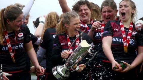 Saracens celebrate their Premier 15s title success